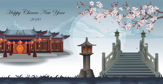 Chinese house in the garden with beautiful plum trees spanning across the bridge on mountain Premium Vector
