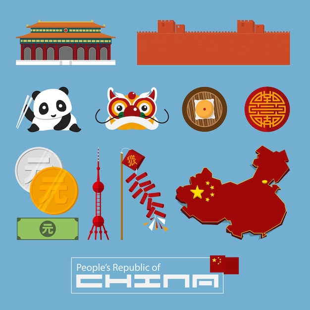 Chinese icon and landmark in flat design Premium Vector