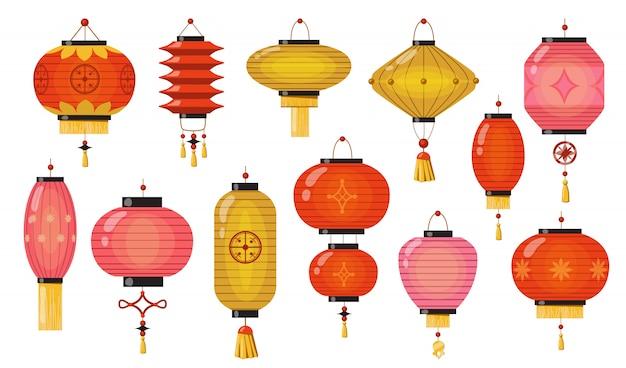 Комплект китайских светильников Бесплатные векторы
