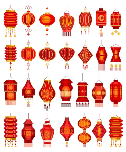 Chinese lantern  cartoon set icon.  illustration asian lamp on white background.  cartoon set icon chinese lantern. Premium Vector