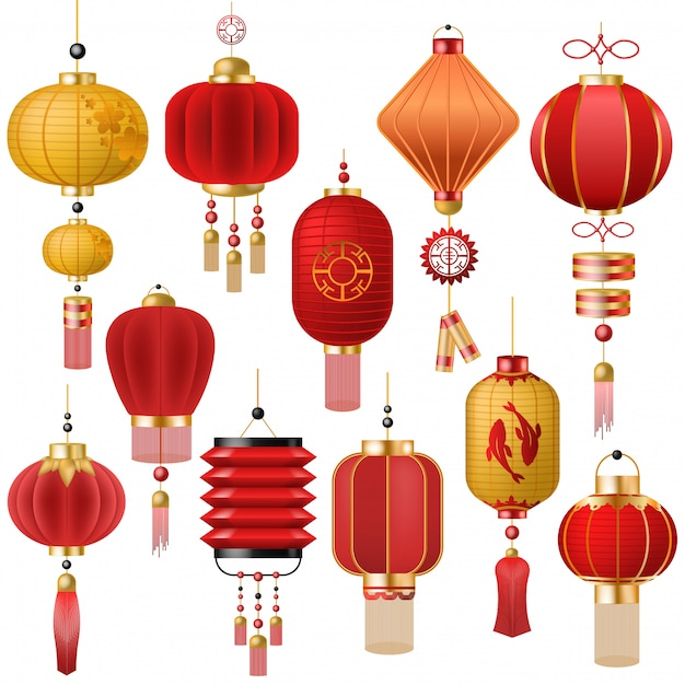 Chinese lantern vector traditional red lantern-light and ...