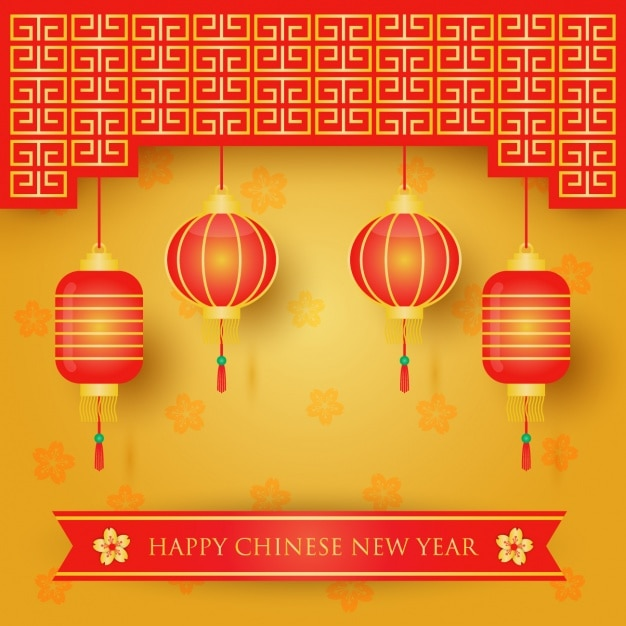 Chinese lanterns and happy new year message