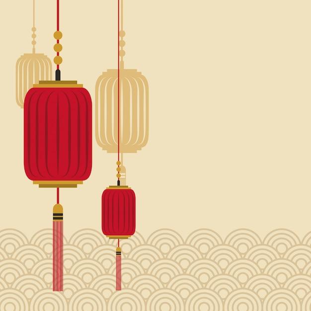 Chinese lanterns icon Vector | Premium Download