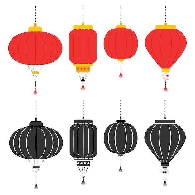 Chinese lanterns  set isolated on a white background. Premium Vector