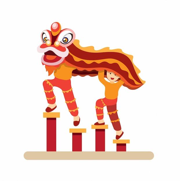 Китайский танец льва, гун си фа цай традиционный танец в новогодней плоской иллюстрации Premium векторы
