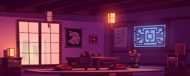 Chinese living room with wooden table, chair and red cushions at night. Free Vector