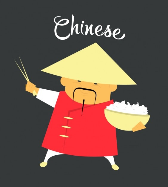 Chinese man flat illustration Free Vector
