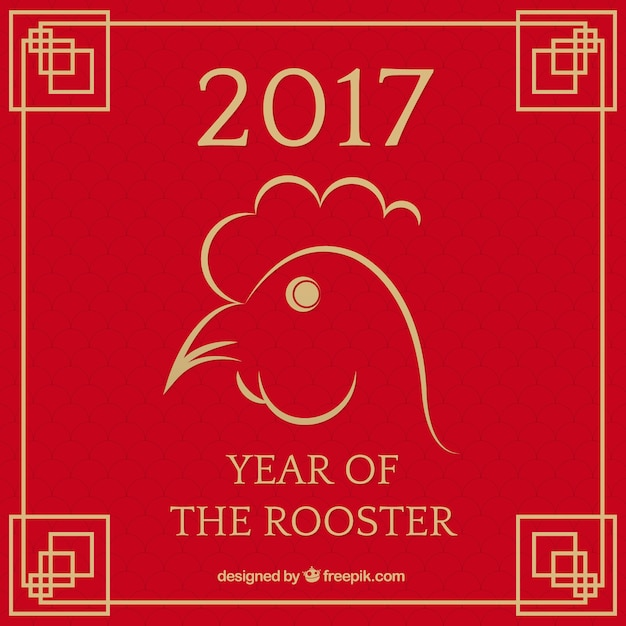 chinese new year 2017 background with a rooster free vector - When Is Chinese New Year 2017