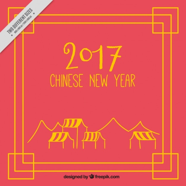Chinese new year 2017, red background with frame Vector | Free Download