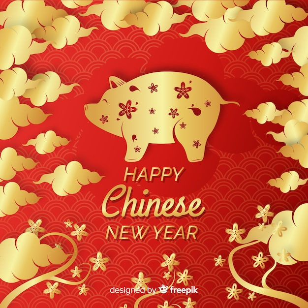 Chinese new year 2019 background in paper style Free Vector