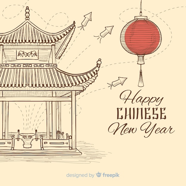 Китайский новый год 2019 фон Premium векторы