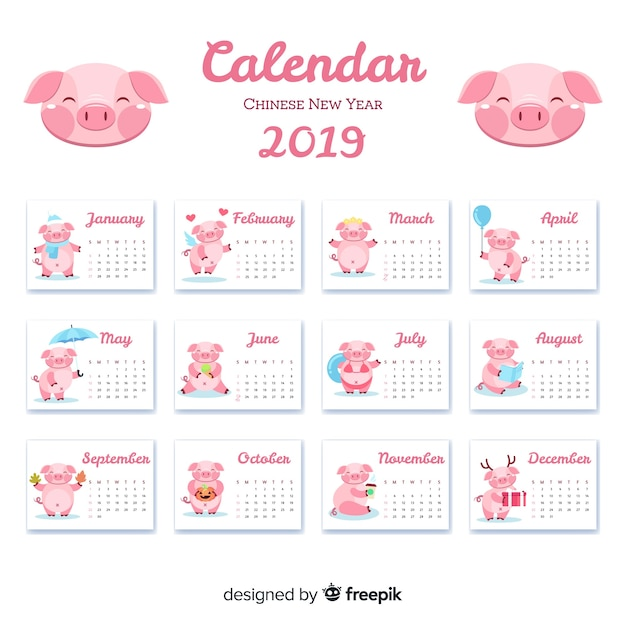 2019 Chinese New Year Calendar Chinese new year 2019 calendar Vector | Free Download