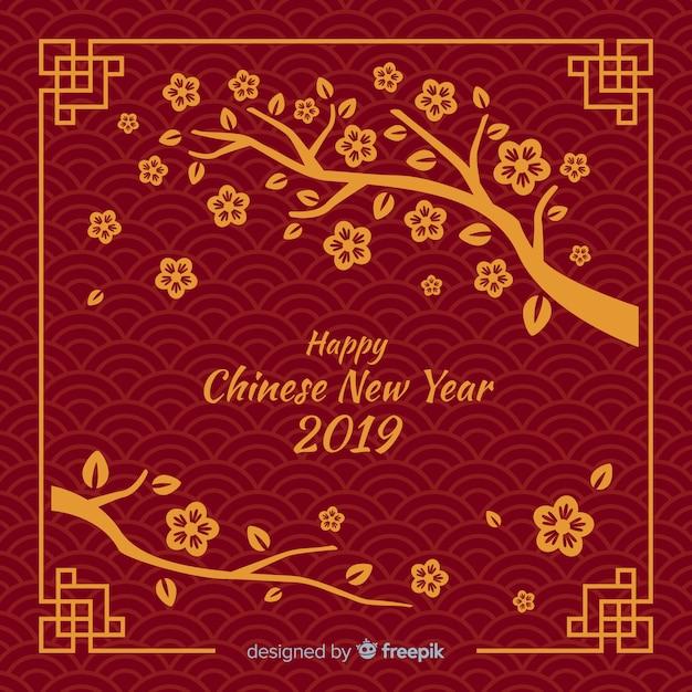 Китайский новый год 2019 Premium векторы