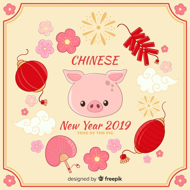 Chinese new year 2019 Free Vector