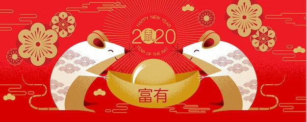 Chinese new year  2020 happy new year greetings year of the rat Premium Vector