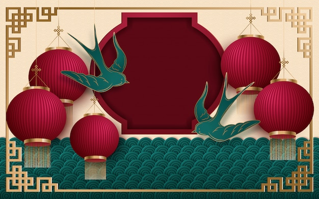 Chinese new year 2020 traditional red and gold web banner Premium Vector