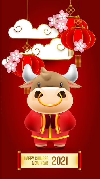 Chinese new year 2021 greeting card, the year of the ox, Premium Vector