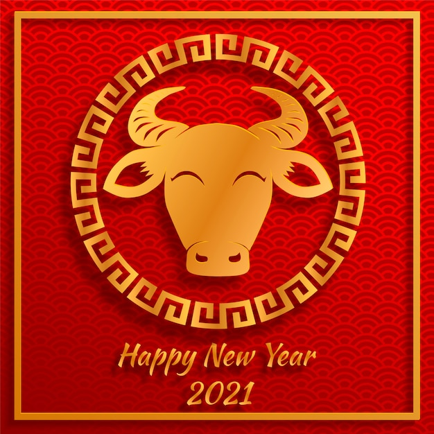 Chinese new year 2021 year of the ox , red and gold paper ...