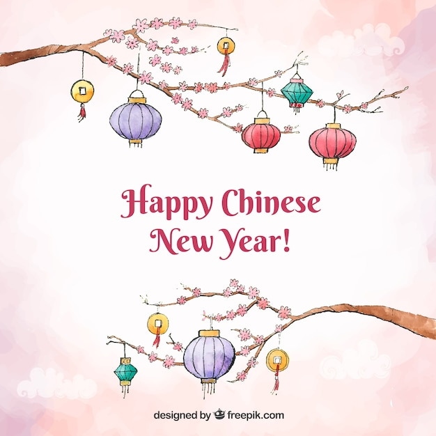 Chinese new year background design with lanterns on ...