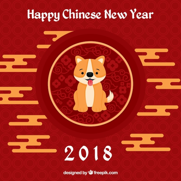 chinese new year background with cute dog free vector