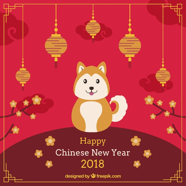chinese new year background with cute dog