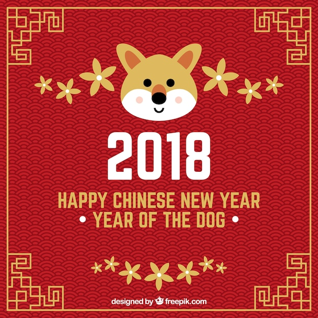 chinese new year background with dog face free vector