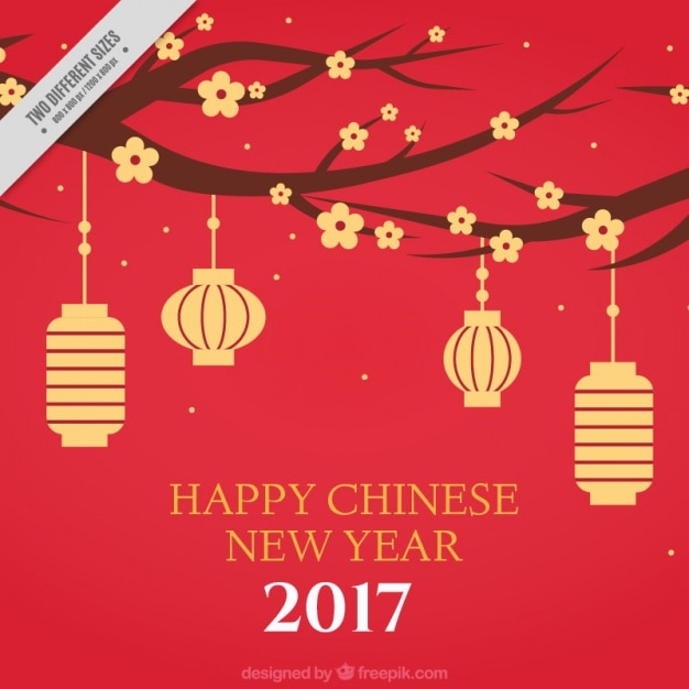 Chinese new year background with flowers and lanterns - Flowers for chinese new year ...