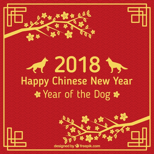 chinese new year background with golden dogs free vector