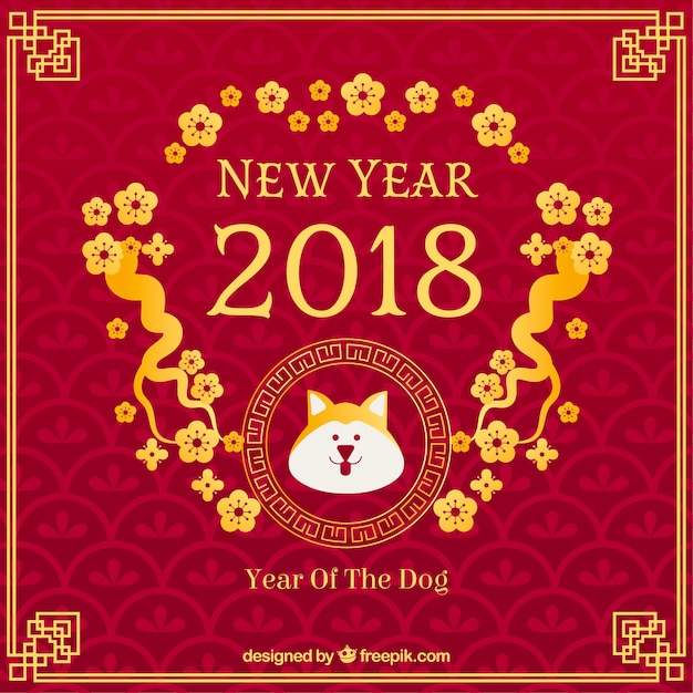 chinese new year background with golden flowers free vector
