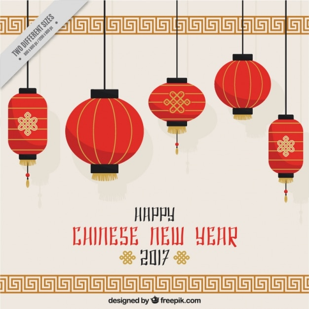 chinese new year background with hanging lanterns free vector - Chinese New Year Lanterns