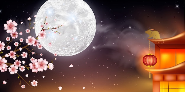 Chinese new year background with lanterns and light effect. china town village, sky, cherry flowers, blue background. Premium Vector