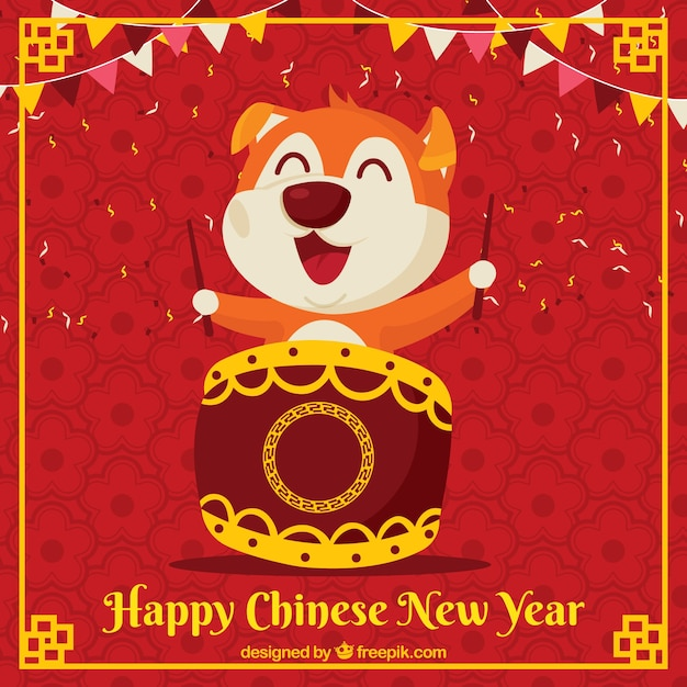 Chinese new year background with playful\ dog