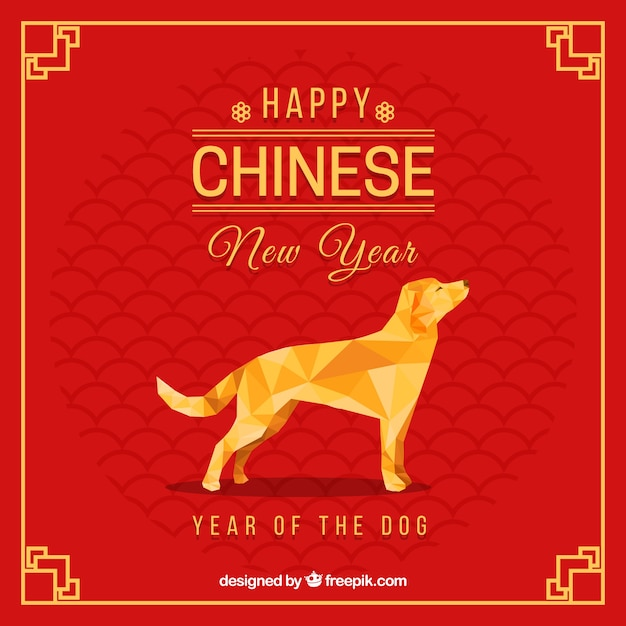 chinese new year background with polygonal dog free vector