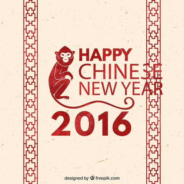Chinese new year background with red decoration Free Vector