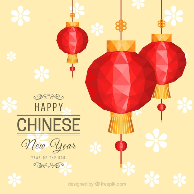 Chinese New Year Background With Red Lanterns