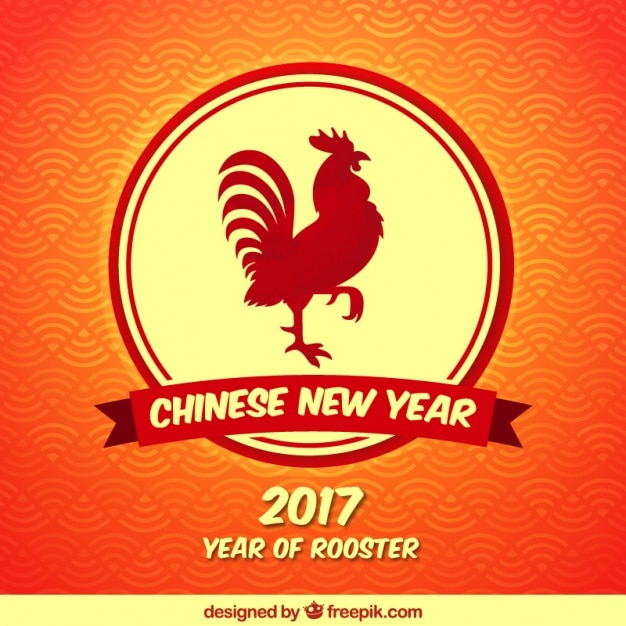 chinese new year background with red rooster free vector