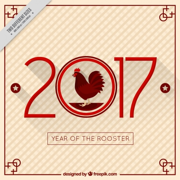 Chinese new year background with rooster and\ stars
