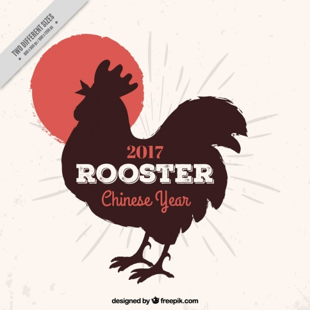 Free Vector Chinese New Year Background With Rooster Silhouette Black and white rooster crowing clipart. year background with rooster silhouette