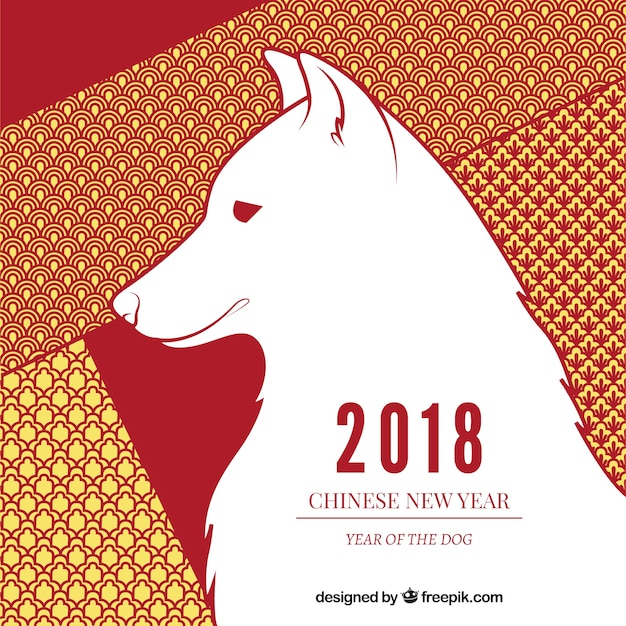 chinese new year background with white dog free vector