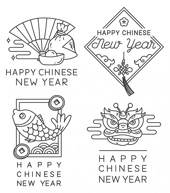 Chinese new year badge in line style vector Premium Vector