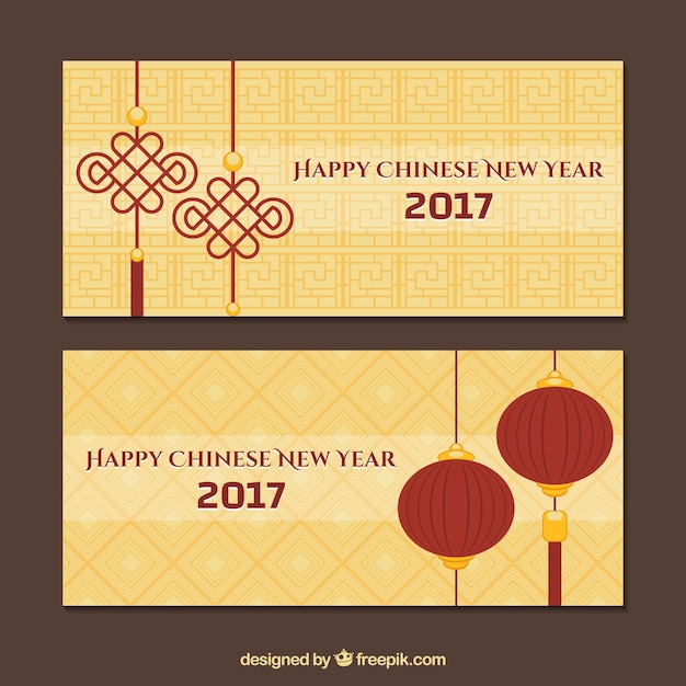 chinese new year banners with geometric backgrounds free vector
