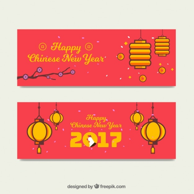 Chinese new year banners with lanterns in flat design