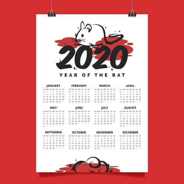 Chinese new year calendar in flat design Free Vector