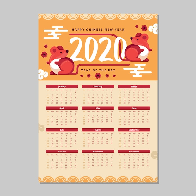 Chinese new year calendar flat design Free Vector