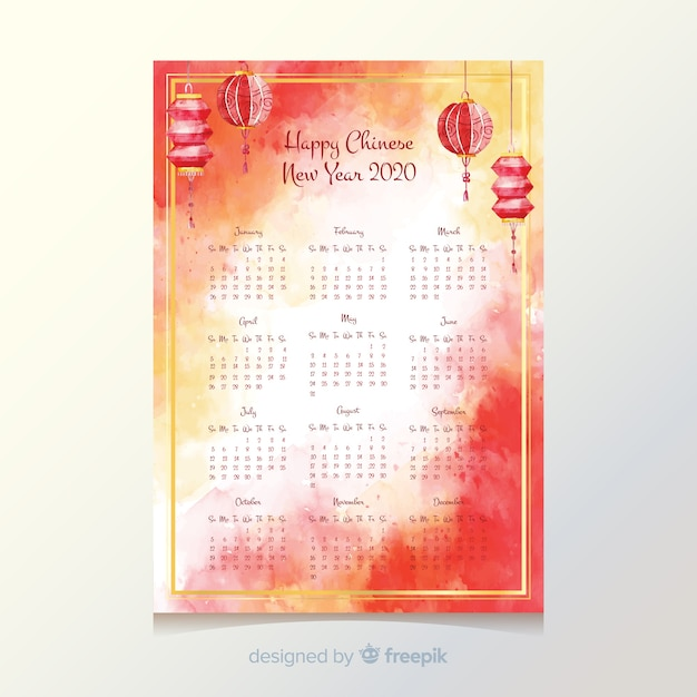 Chinese new year calendar template Free Vector