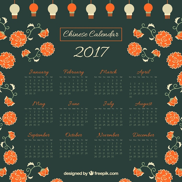Chinese new year calendar with flowers and lanterns