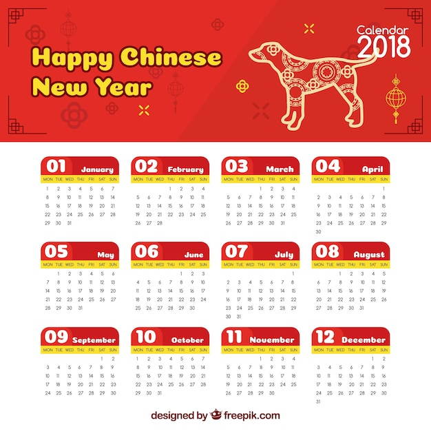 chinese new year calendar with illustration free vector - Chinese New Year Calendar