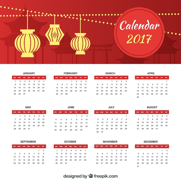 Chinese new year calendar with lanterns in flat design
