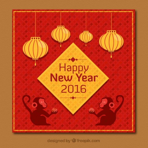 chinese new year card in golden and red color free vector