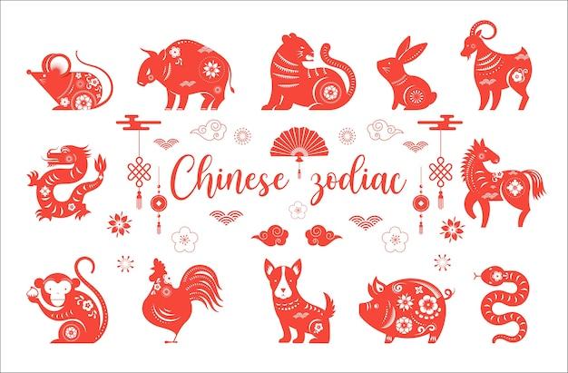 Китайский новый год, символы животных китайского зодиака. Premium векторы